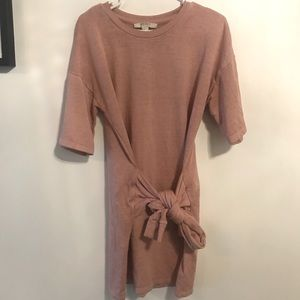 Tie-waist t-shirt dress in dusty rose